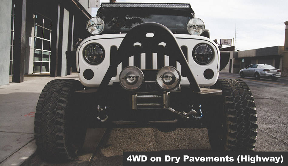 Driving in 4WD on dry pavement Highway L