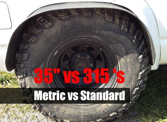 Difference between 35-inch and 315 tires